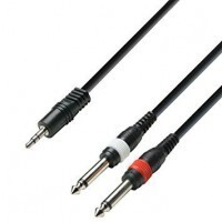 ADAM HALL K3YWPP0100 | Cable de Audio de Minijack 3,5 mm estéreo a 2 Jacks 6,3 mm mono 1 m